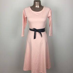 SHABBY APPLE Pink Wrap Tie Stretch Fit Flare Dress